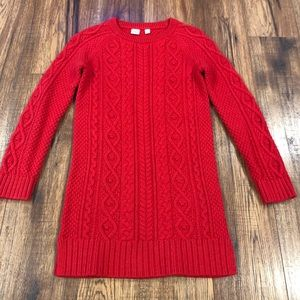 Gap Kids Red Cable Knit Sweater Dress 10